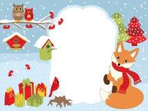 Natal do vetor e molde do cartão do ano novo com um Fox, as corujas, o cardeal, os aviários e as caixas de presente no fundo da n Foto de Stock