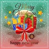 Natal dourado com caixa atual ilustração do vetor