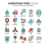 Natal e ano novo Feriados de inverno santa dezembro Linha fina grupo do ícone da Web Coleção dos ícones do esboço Vetor Fotos de Stock Royalty Free