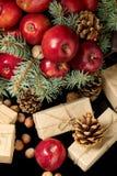 Natal e ano novo Maçãs com cones do pinho e porcas no bas Imagens de Stock Royalty Free