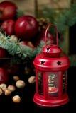 Natal e ano novo Maçãs com cones do pinho e porcas no bas Foto de Stock Royalty Free