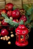 Natal e ano novo Maçãs com cones do pinho e porcas no bas Fotos de Stock Royalty Free