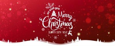 Natal e ano novo tipográficos no fundo nevado do Xmas com paisagem com flocos de neve, luz do inverno, estrelas ilustração stock