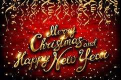 Natal e ano novo tipográficos no fundo vermelho ilustração royalty free