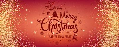 Natal e ano novo tipográficos no fundo vermelho com textura do brilho do ouro ilustração do vetor