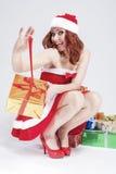 Natal e conceito e ideias do ano novo Caucasian positivo San Fotos de Stock