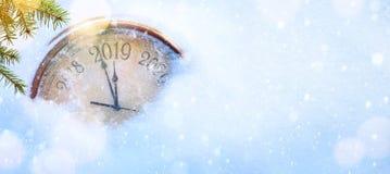 Natal 2019 e do convite anos novos do fundo da bandeira fotografia de stock royalty free