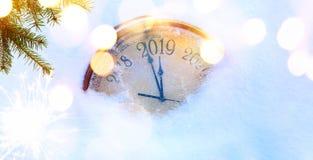Natal 2019 e do convite anos novos do fundo da bandeira imagem de stock
