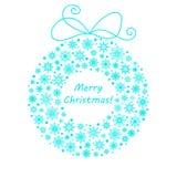 Natal e grinalda feita dos flocos de neve, neve do ano novo Azul da ilustração do vetor no branco Para o cartão, bandeira, cartaz Fotos de Stock