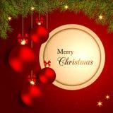 Natal efervescente Crystal Ball no fundo vermelho Imagem de Stock Royalty Free