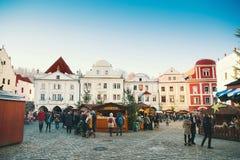 Natal em Cesky Krumlov, República Checa, Europa Fotos de Stock