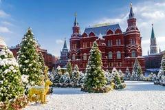 Natal em Moscovo Quadrado de Manezhnaya em Moscou O inscriptio imagem de stock royalty free