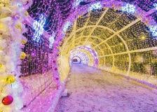 Natal em Moscovo Túnel leve no bulevar de Tverskoy imagem de stock royalty free