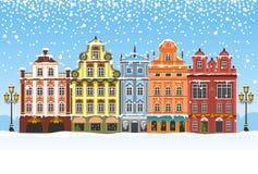 Natal em uma cidade nevado ilustração do vetor