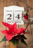 Natal Eve Date On Calendar 24 de dezembro Foto de Stock
