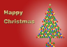 Natal feliz no ouro com uma árvore Fotografia de Stock Royalty Free