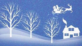 Natal: fundo com Santa Claus que arremessa em seu trenó, com áudio do clássico 'ho ho ho 'e da faísca mágica ilustração royalty free