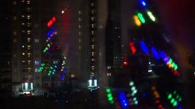 Natal Garland Flickering na janela vídeos de arquivo