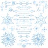 Natal, grupo da decoração do ano novo Beiras do inverno, elementos ilustração do vetor
