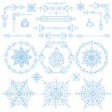 Natal, grupo da decoração do ano novo Elementos do inverno ilustração do vetor