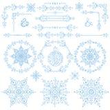 Natal, grupo da decoração do ano novo Elementos do inverno ilustração stock
