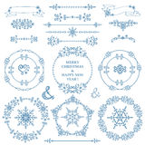 Natal, grupo da decoração do ano novo Inverno Grinalda dos quadros ilustração do vetor