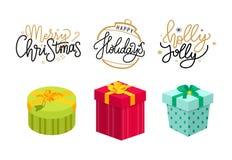 Natal Holly Jolly Holidays Lettering Postcards ilustração do vetor