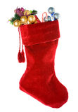 Natal: Meia vermelha do Natal com decorações Imagem de Stock