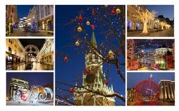 Natal Moscou, Rússia collage fotos de stock royalty free