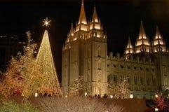 Natal no quadrado 2 do templo Fotos de Stock Royalty Free