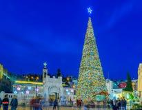 Natal no quadrado bom de Mary, Nazareth Fotos de Stock Royalty Free