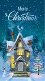 Natal Noite de, tempo de inverno, a casa da família antes de um feriado Uma ilustração para o cartão Cartaz do ` s do ano novo ilustração royalty free