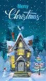 Natal Noite de, tempo de inverno, a casa da família antes de um feriado Uma ilustração para o cartão Cartaz do ` s do ano novo ilustração stock