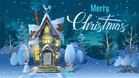 Natal Noite de, tempo de inverno, a casa da família antes de um feriado Uma ilustração para o cartão Cartaz do ` s do ano novo ilustração do vetor