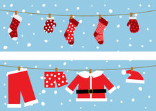 Natal Papai Noel Chlotes. ilustração stock
