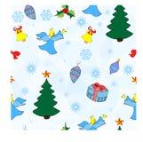 Natal patern com flocos de neve e um anjo foto de stock royalty free
