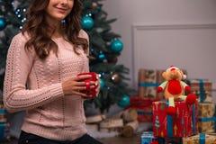 Natal pendente da menina bonita Imagem de Stock Royalty Free