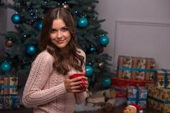 Natal pendente da menina bonita Foto de Stock