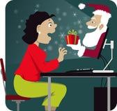 Natal que compra em linha Fotos de Stock Royalty Free
