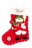 Natal que stoking com floco de neve e boneco de neve Imagem de Stock Royalty Free