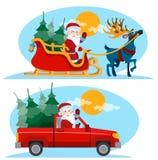 Natal Santa Claus que move sobre o pequeno trenó com rena Fotografia de Stock