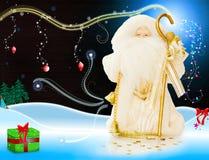 Natal Santa em uma noite mágica de dezembro ilustração royalty free