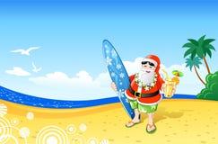 Natal Santa na praia Fotografia de Stock Royalty Free
