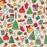 Natal sem emenda da garatuja do teste padrão Fotos de Stock
