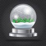Natal transparente Crystal Ball com Santa Claus e a árvore Imagens de Stock