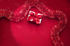 Natal vermelho Tinsel Background Fotos de Stock