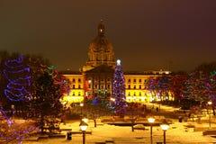 Natale ad Alberta Legislature immagini stock