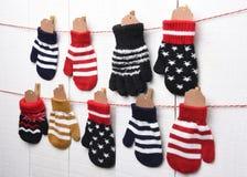 Natale Advent Calendar con i guanti Fotografia Stock Libera da Diritti
