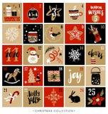 Natale Advent Calendar Elementi disegnati a mano di disegno Immagine Stock