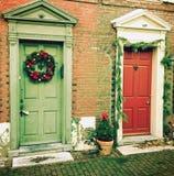 Natale al vicolo del Elfreth storico Immagini Stock Libere da Diritti